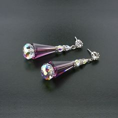 Amethyst and AB Crystal Cone Earrings