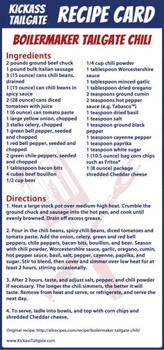 Recipe Card: Boilermaker Tailgate Chili - Kickass Tailgate
