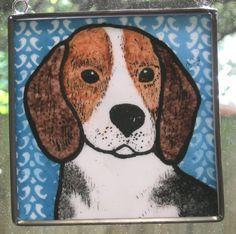 Stained Glass Dog Suncatcher Beagle on blue JRN132. $13.00, via Etsy.