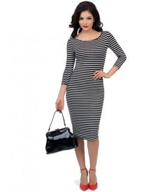 Take a stunning saunter in stripes, dear! An alluring fitted bodycon dress patterned in black and white horizontal strip...Price - $48.00-mM1Nb5W0