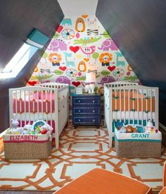 Fun and creative twins nursery an great use of small space