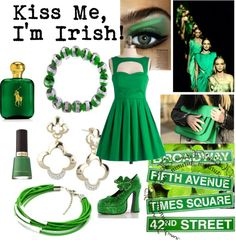 """Kiss Me, I'm Irish!"" by pugsterjewelry on Polyvore  Saint Patrick's Day Party/date outfit"