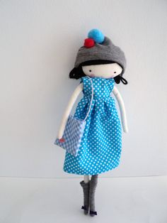 Ella rag doll cloth art rag doll polka dots by lassandaliasdeana