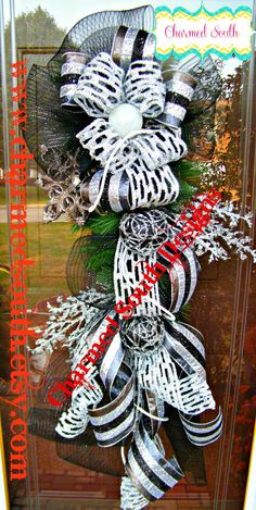 ON SALE Christmas evergreen black and silver mesh by CharmedSouth TAKE 20% OFF...CHECK OUT www.charmedsouth.etsy.com christma wreath, whimsic christma, whimsical christmas, ribbon, ornament, mesh swag, silver mesh, christma swag, black