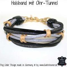 Halsband mit Ohr-Tunnel Grau/Schwarz