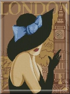 0 point de croix femme chapeau londres - cross stitch lady hat london