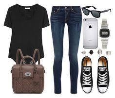 """Style #8960"" by vany-alvarado ❤ liked on Polyvore featuring rag & bone, Helmut Lang, Converse, Mulberry, Ray-Ban and Casio"