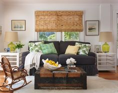 Discover different types of window treatments & the natural allure of woven wood shades. bE Home has the latest trends in woven wood shades for the season! Coastal Living Rooms, Home And Living, Room Design, Interior Design, Living Room Decor, Eclectic Living Room, Beachy Living Room, Living Room Designs, Vintage Living Room