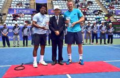 The tennis star Leander Paes wins the doubles title at the Busan Challenger with Sam Groth. Tennis Stars, Nike Tennis, Sports Brands, Busan, Basketball Court