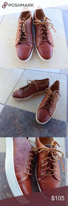 Sperry leather brown shoes Brand new shoes.  Lace-to-toe sneakers. Leather uppers, soft lambskin linings. Sperry Shoes Sneakers