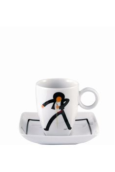 """The whimsical Piló Life of The Party Cup and Saucer when filled with your favorite coffee beverage,will awaken and inspire you for the day while putting a smile on your face. Fine Premium Porcelain - Height: 2.44"""" Diameter: 3.82"""" Capacity: 2.43oz - Only $22.95 - 6 to choose from"""
