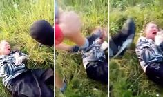 Shocking footage shows teenage lynch mob beat Russian paedophile