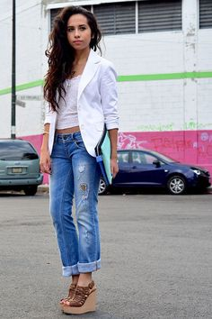 Boyfriend Jeans and PERUGIA Wedges