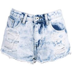 Boohoo Blue Zoe Bleach Wash Distressed Denim Hotpant (175 DKK) ❤ liked on Polyvore featuring shorts, bleached shorts, mini short shorts, party shorts, hot shorts and flat-front shorts