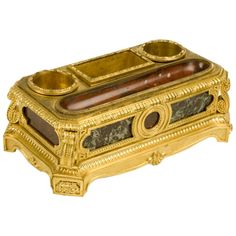 French Bronze and Marble Inkwell -- Beautifully cast and gilt bronze inkwell with various colored marble inlays, French 19th Century