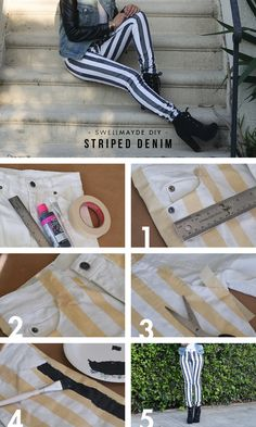 Black  White Striped Denim - 18 Stylish and Trendy DIY Clothes Tutorials and Ideas