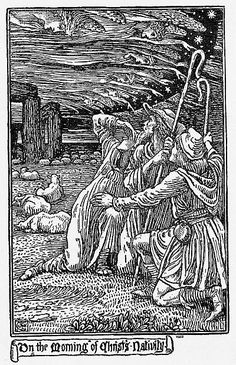 A group of angels form the clouds in the sky as three shepherds are told of the Holy Birth.