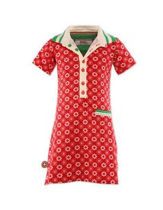 Red dress with white flowers ' come on in my kitchen' - 4 funky flavours