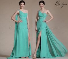 Carlyna 2014 New Turqoise One Shoulder High Split Beaded Evening Dress/Bridesmaid Dress>http://bit.ly/Carlyna-C36142404