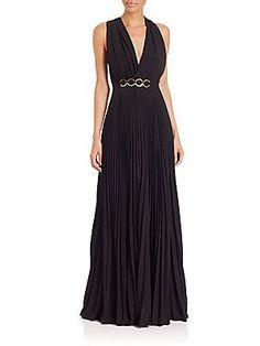 Halston Heritage Pleated Sleeveless Gown - Black - Size 2
