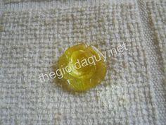 Mặt Hoa Mẫu Đơn thạch anh tóc vàng #Jewelry #RutileQuartz #Crystal #Quartz #Peony - Hoa Mẫu Đơn đá quý thạch anh
