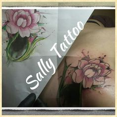 cover up tattoo, lotus flower,  watercolor sally tattoo
