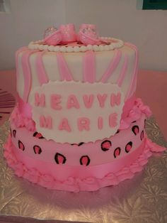 Pink and white zebra and leopard print baby shower cake.