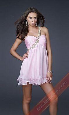 Light Pink One Shoulder Short Dress