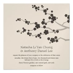 faire part      Mariage oriental de zen de fleurs de cerisier noir faire-part personnalisés
