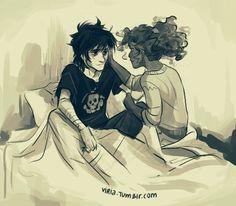 Hazel calming Nico after he had a nightmare. c: (SFDHSHSHDKSAJCSGBDUDHXEJSJF SO CUTE)