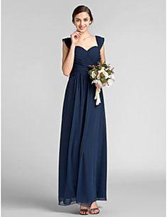 Floor-length+Chiffon+Bridesmaid+Dress+-+Dark+Navy+Plus+Sizes...+–+USD+$+79.99