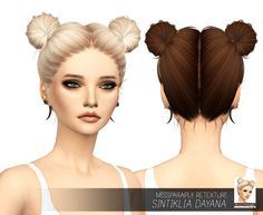 My Sims 4 Blog: Sintiklia Dayana Hair Retexture 64 Colors by MissParaply