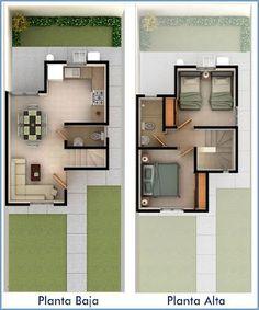 Planos de Casas y Plantas Arquitectónicas de Casas y Departamentos: 2 recamaras: