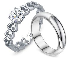 Matching Heart Link Diamond Engagement Promise Ring and Engravable Wedding Band Set for Him and Her