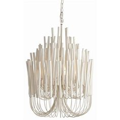 Tilda 5L Wood and Iron Chandelier with a Whitewash Finish by Arteriors.