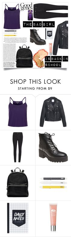 """""""the bad girl is back too school, losers."""" by alissazsg ❤ liked on Polyvore featuring Topshop, MANGO, Cheap Monday, Wet Seal, Elizabeth and James, Origins and Thierry Mugler"""