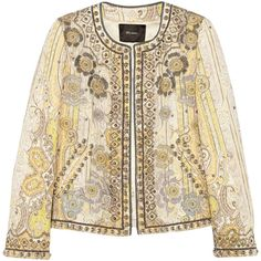 Isabel Marant Johnson embellished cotton-blend jacket (€920) ❤ liked on Polyvore featuring outerwear, jackets, coats, tops, pastel yellow, tailored jacket, open front jacket, yellow jacket, embellished jackets and embroidered jacket
