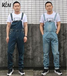 69.00$  Watch here - http://alid9c.worldwells.pw/go.php?t=32363156893 - New Brand Men's Denim Bib Pants Male Loose Plus Size Casual Jeans Straight One Piece Long Trousers Suspenders Overalls Jumpsuit 69.00$