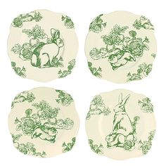Four Asst Andrea by Sadek Green Bunny Toile Plates: Just in time for Spring, our delightful Bunny Toile dinnerware to welcome in the new season featuring curious bunnies amidst a fruit garden on a crisp white background. 9