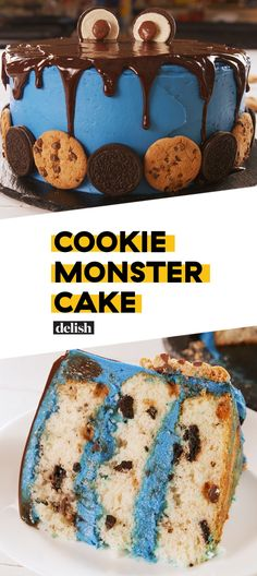 Monster Cake This is the most incredible Cookie Monster cake we've ever seen. Get the recipe at .This is the most incredible Cookie Monster cake we've ever seen. Get the recipe at . Just Desserts, Delicious Desserts, Yummy Food, Cookie Recipes, Dessert Recipes, Salty Cake, Cookies Et Biscuits, Cake Cookies, Super Cookies