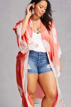 Plus Size Tie-Dye Kimono