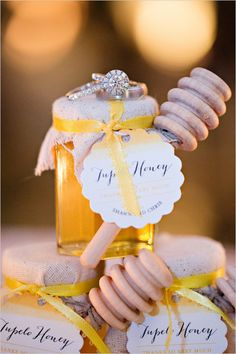 Honey wedding favors. Captured By: Adriana Klas Photography http://www.weddingchicks.com/2014/05/23/elegant-and-classic-pink-wedding/