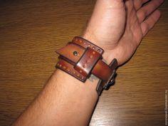 68db44001b4c Купить Ремешок для часов кожаный - рыжий, в горошек, авторская ручная работа,  авторская работа, кожа