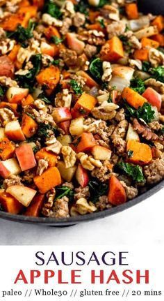Easy paleo and Whole30Sausage Apple Hash made in one pan and in 20 mins! Perfect for sweet & savory comforting breakfast and great for meal prep! - Eat the Gains #whole30 #breakfasthash #paleo #glutenfree #mealprep #sausagehash