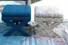 upholstery spray paint that leaves the fabric soft and flexible after it dries! These stools only cost 15 bucks each + the cost of the paint, about 12 bucks a can -- what a deal! May need in future