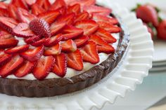 Fudgy Brownie Layered with Coconut Whipped Cream and Ripe Strawberries