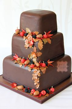 3 tier square chocolate wedding cake with edible sugar fruits and leaves from Sticky Fingers Cake Co