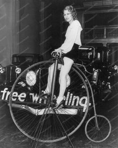 Lady Rides Huge Bicycle Vintage 8x10 Reprint Of Old Photo