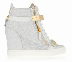 8ce28f1e1911c Giuseppe GZ Croc High Top Double Buckles Sneakers White   Sneakers    Pinterest   High tops and Giuseppe zanotti