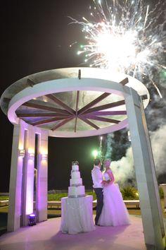 Use of Purple Lighting inside Water Pergola, Villa Phalosa, Seminyak, Bali Wedding Organised and Styled by Jody Q Weddings